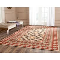 Safavieh Indoor/ Outdoor Veranda Red/ Natural Rug - 6'7 x 9'6