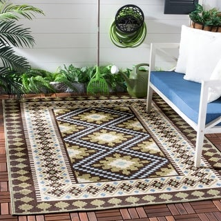 Safavieh Indoor/ Outdoor Veranda Black/ Cream Rug (5'3 x 7'7)