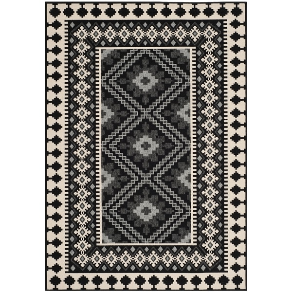 Safavieh Indoor Outdoor Veranda Black Cream Rug 5 3 X 7