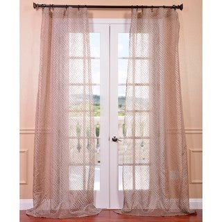 Exclusive Fabrics Zara Taupe Patterned Sheer Curtain Panel