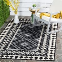 Safavieh Indoor/ Outdoor Veranda Black/ Cream Rug - 8' x 11'2