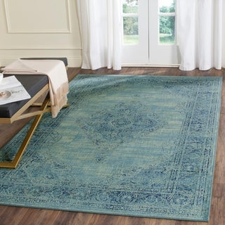 Safavieh Vintage Oriental Turquoise Distressed Silky Viscose Rug (8'10 x 12'2)
