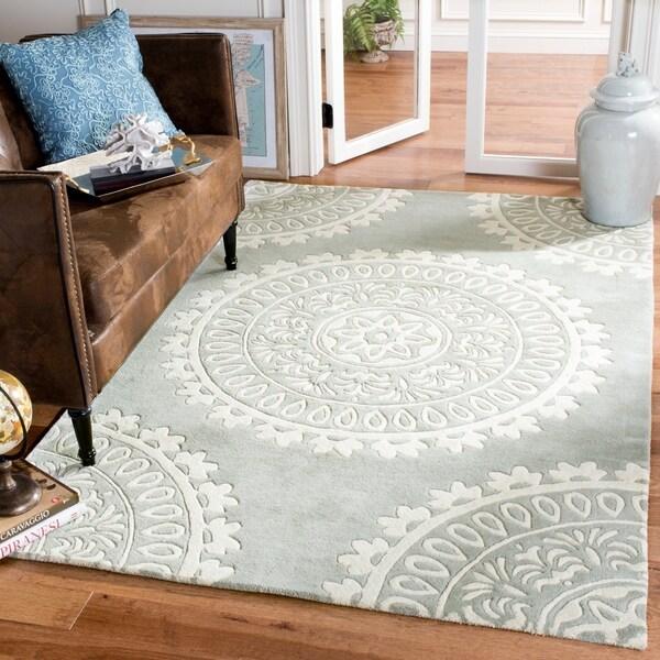 Safavieh Handmade Bella Grey/ Ivory Wool Rug - 9' x 12'