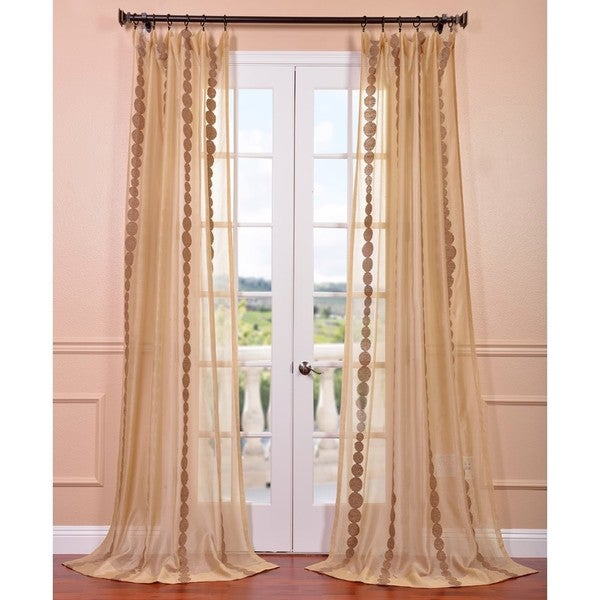 Exclusive Fabrics Cleopatra Gold Embroidered Sheer Curtain