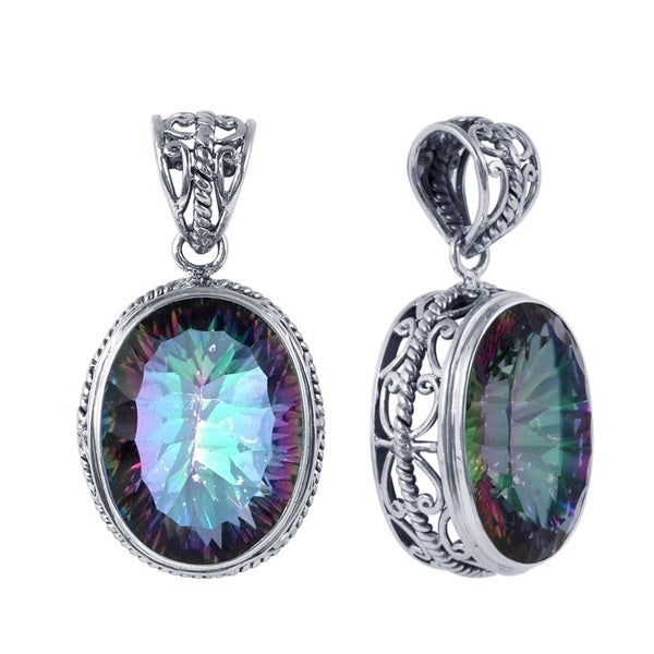 Jewelry & Watches Multi Color Rainbow Topaz 925 Sterling Silver Pendant Earrings Set Jewelry Attractive Appearance