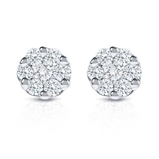 Auriya 14k White Gold 1/4ct TDW Diamond Composite Stud Earrings