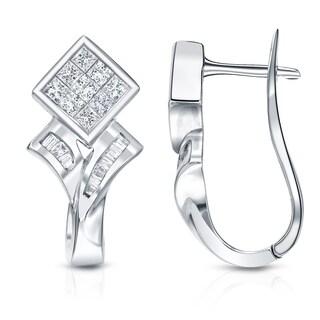 Auriya 14k White Gold 1ct TDW Princess and Baguette-cut Diamond Earrings (H-I, SI1-SI2)