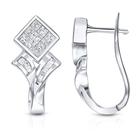 Auriya 1ctw Modern Pave Diamond Dangle Earrings 14k White Gold