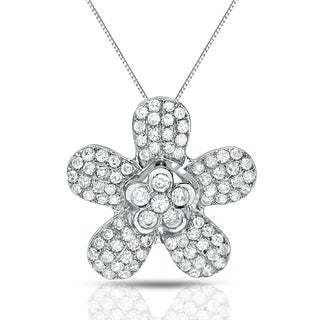 Auriya 14k White Gold 1/2ct TDW Diamond Flower Necklace