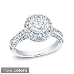 Auriya 14k Gold Certified 1 3/4ct TDW Bezel Set Diamond Engagement Ring