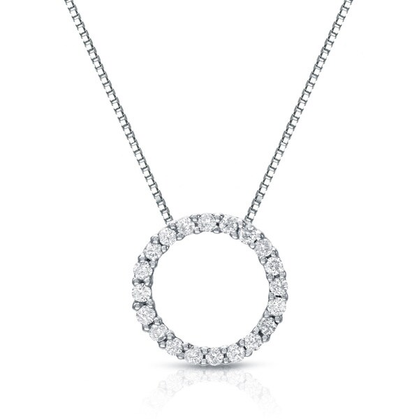 Auriya 14k white gold diamond circle necklace free shipping auriya 14k white gold diamond circle necklace aloadofball Images