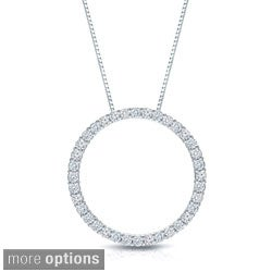 Auriya 14k White Gold Diamond Circle Necklace (H-I, SI1-SI2)