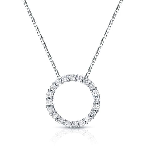 Auriya 14k White Gold Fashion Circle Diamond Necklace