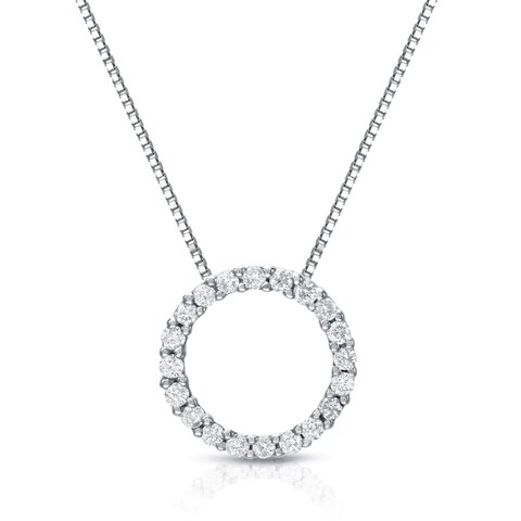 Auriya 14k White Gold Fashion Circle Diamond Necklace