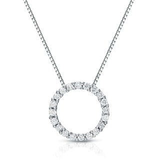 Auriya 14k White Gold Diamond Circle Necklace