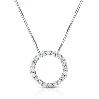 Auriya 14k White Gold Fashion Circle of Life Diamond Necklace