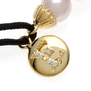 Sterling Essentials Gold Plated Silver and Pink Pearl Initial Friendship Bracelet (More options available)