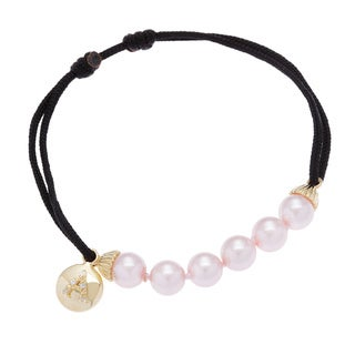 Link to Sterling Essentials Gold Plated Silver and Pink Pearl Initial Friendship Bracelet Similar Items in As Is
