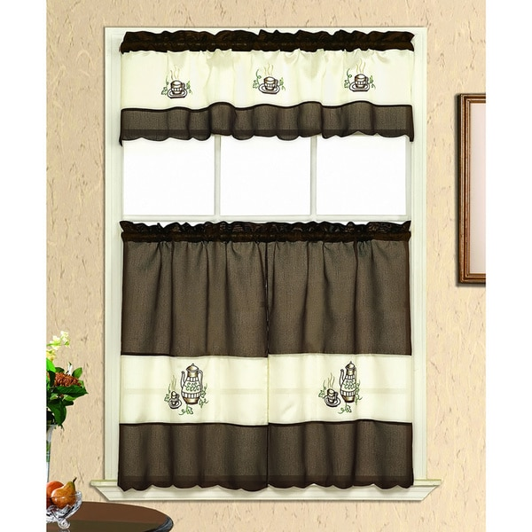 Coffee Embroidery Tiered Curtain Set (3 Piece)