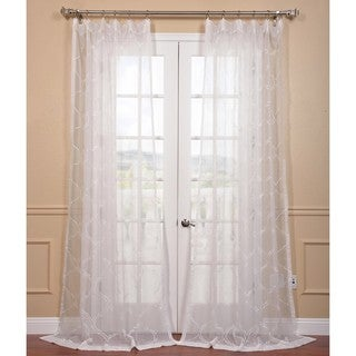 EFF Florentina White Embroidered Sheer Curtain Panel