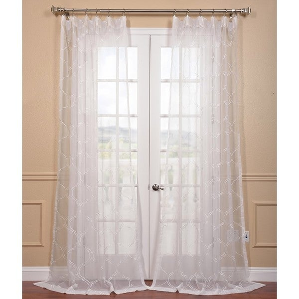 Exclusive Fabrics Florentina White Embroidered Sheer Curtain Panel Free Shipping On Orders