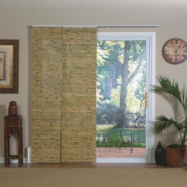 Radiance Natural Bamboo Panel Track Sliding Window Shade 84 X 78