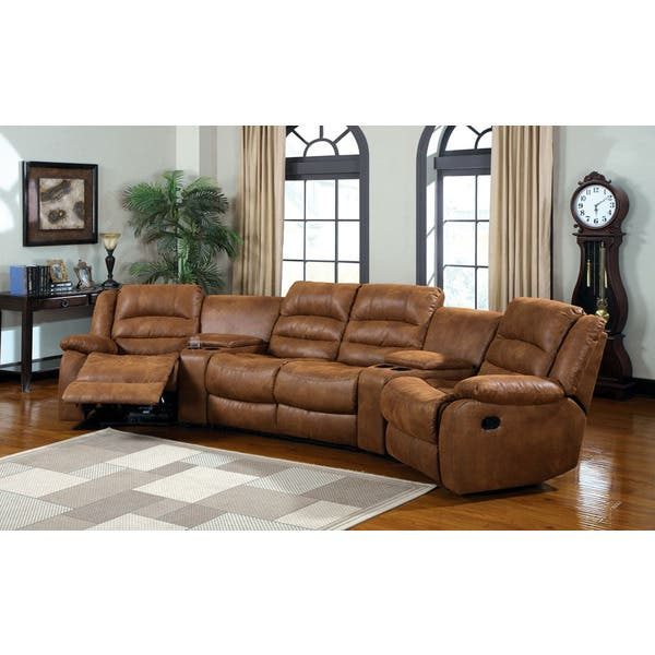Shop Manchester Home Theatre Leather-like Fabric Sofa Set ...