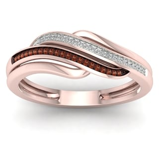 De Couer 10k Rose Gold 1/10ct TDW Cognac and White Diamond Ring