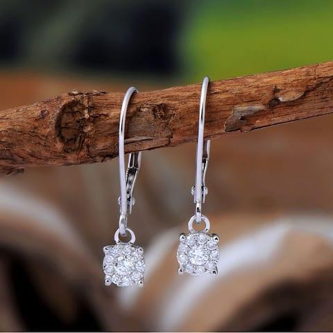 Certified 1/5ct TDW Composite Diamond Dangle Drop Earrings in 14k White Gold