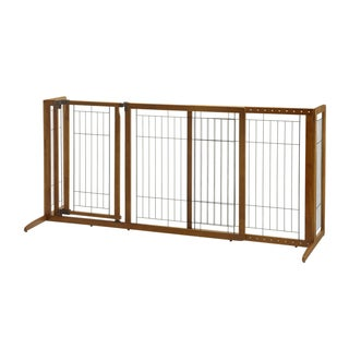 Richell Brown Rubberwood, Plastic, And Metal Deluxe Freestanding Pet Gate