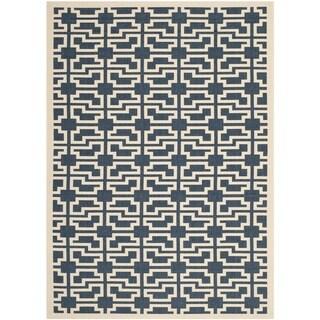 Safavieh Courtyard Geometric Navy/ Beige Indoor/ Outdoor Rug (2'7 x 5')