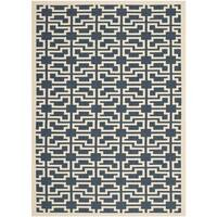 Safavieh Courtyard Geometric Navy/ Beige Indoor/ Outdoor Rug - 2'7 x 5'