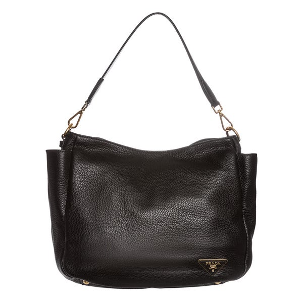 Prada X27 Daino Back Pebbled Leather Side Pocket Hobo Bag