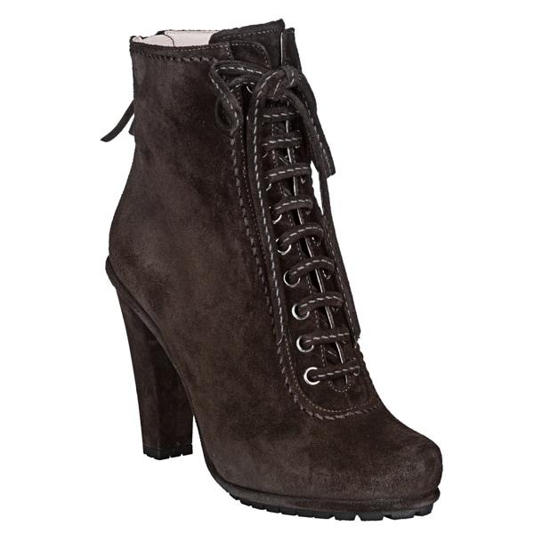 cb1d80fd61b8a Shop Miu Miu Women's Dark Grey Suede Lace-up Ankle Boots - Free ...