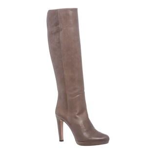 Prada Grey Leather Knee-high Platform Boots