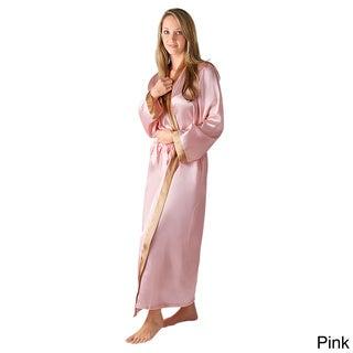 Del Rossa Women's Contrasting Trim Satin Robe