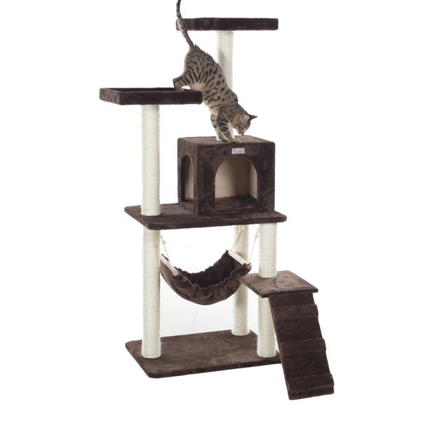gleepet 57 inch multi tier faux fur cat tree with condo and hammock gleepet 57 inch multi tier faux fur cat tree with condo and      rh   overstock