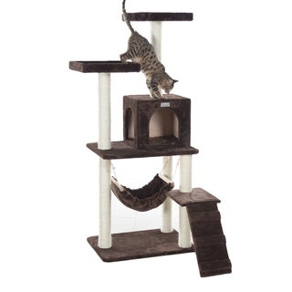GleePet 57-inch Multi-Tier Faux-Fur Cat Tree with Condo and Hammock