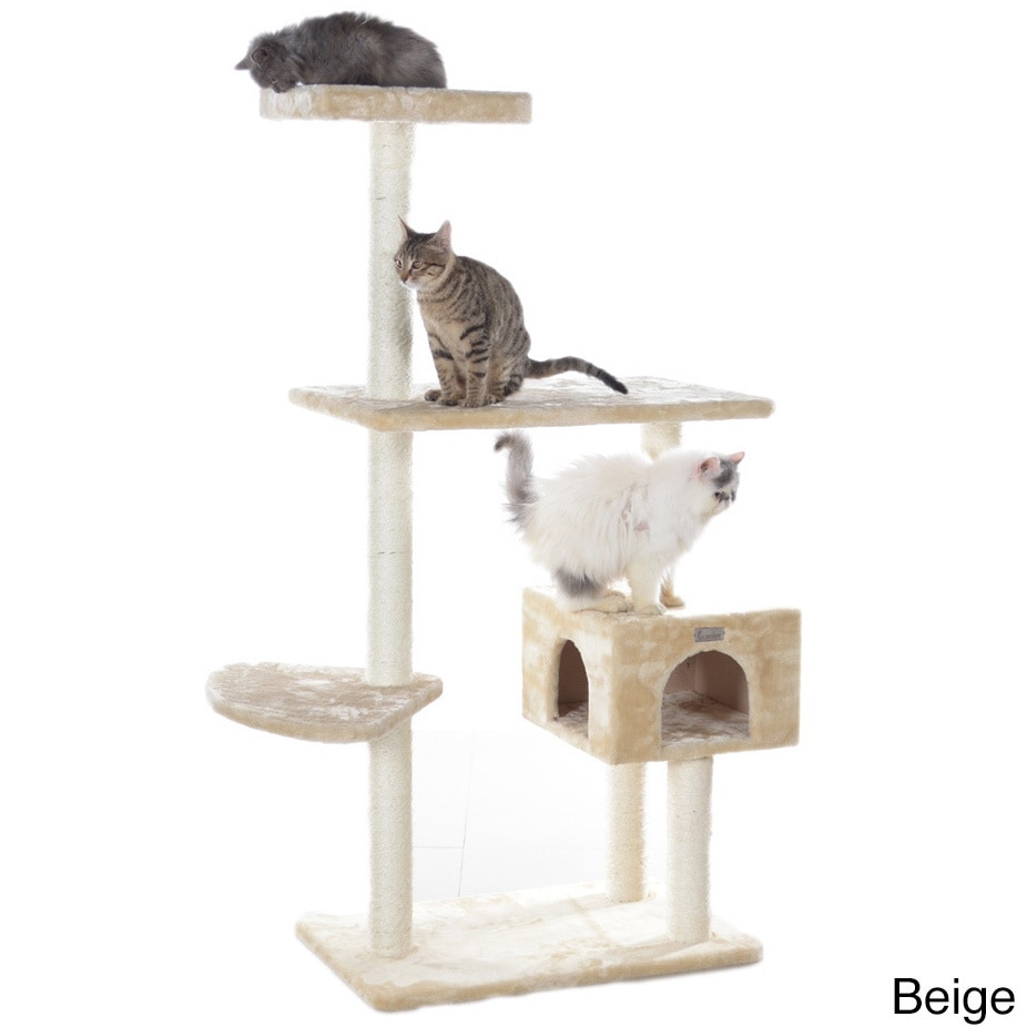 Pioneer GleePet 56-inch Tiered Faux-Fur Cat Tree With Per...