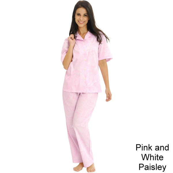 Del Rossa Women's Classic Woven Cotton Top and Pants Pajama Set