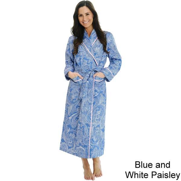 Del Rossa Women's Woven Cotton Robe