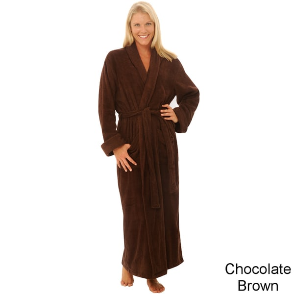 Del Rossa Women's Full Length Shawl Collar Terry Cotton Bath Robe