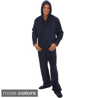 Del Rossa Men's Hooded Footed One-Piece Fleece Pajamas - Free ...