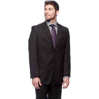 Men's Brushed Black Modern Fit 2-button Suit