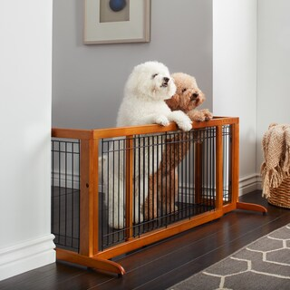 Richell Freestanding Wood Adjustable Pet Gate (Option: 71.3 x 20.1 - Brown)