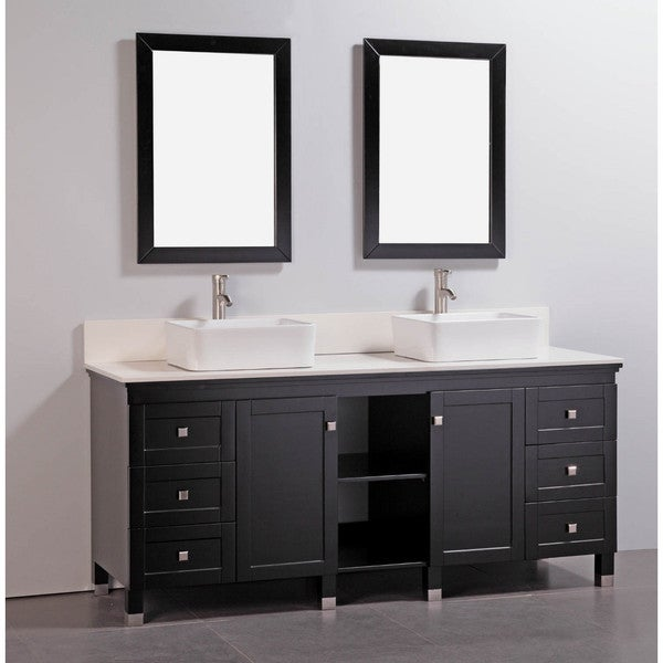 Artificial Stone Top 72 Inch Double Sink Bathroom Vanity With Dual Matching Mirrors Free