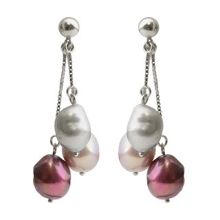 Sterling Silver Dyed Plum, Lavender and Grey Baroque Freshwater Pearl Dangle Earrings (9-10 mm)