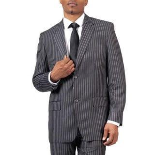 Men's Charcoal Pinstripe Modern Fit 2-button Suit