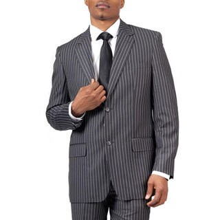 Men's Charcoal Pinstripe Modern Fit 2-button Suit
