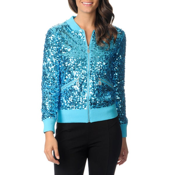 Berek Women's Turquoise Allover Sequined Jacket